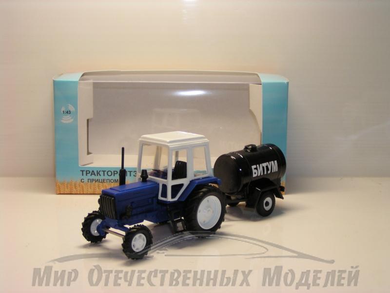 """Увеличить - Трактор МТЗ-82 (пластик, синий) с прицепом бочка """"Битум"""" 1:43"""