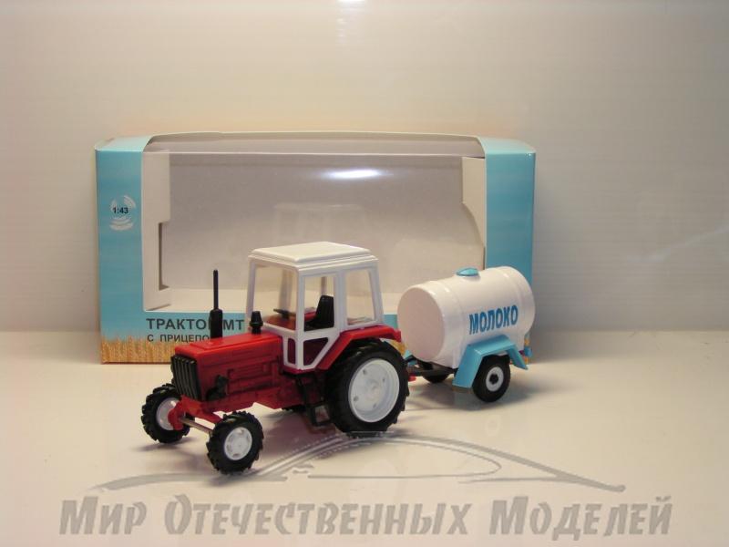 """Увеличить - Трактор МТЗ-82 (пластик, красный) с прицепом бочка """"Молоко"""" 1:43"""