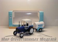 "Трактор МТЗ-82 (пластик, синий) с прицепом бочка ""Молоко"" 1:43"
