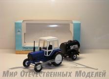 "Трактор МТЗ-82 (пластик, синий) с прицепом бочка ""Битум"" 1:43"