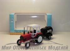 """Трактор МТЗ-82 (пластик, красный) с прицепом бочка """"Битум"""" 1:43"""