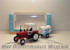 """Трактор МТЗ-82 (пластик, красный) с прицепом бочка """"Молоко"""" 1:43"""