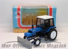 Трактор ДЗ-82 (на базе МТЗ-Люкс-2 (синий, металл) с передней отвальной навеской 1:43