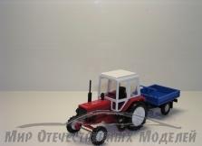 Трактор МТЗ-82 (пластмасса, красный) с бортовым прицепом(МаркАвто) 1:43