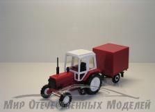 Трактор МТЗ-82 (пластмасса, красный) с прицепом будка(красный) СарАвто 1:43