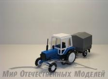 Трактор МТЗ-82 (пластмасса, синий) с прицепом с/х тент СарАвто 1:43