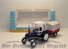Трактор МТЗ-82 (пластмасса, синий) с прицепом тент(МаркАвто) 1:43