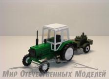 """Трактор МТЗ-82 (пластмасса, зеленый) с прицепом """"Полевая-Кухня"""" 1:43"""